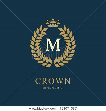 Wreath Monogram luxury design graceful template. Floral elegant beautiful round logo with crown. Letter emblem sign M for Royalty Restaurant Boutique Hotel Heraldic Jewelry. Vector illustration