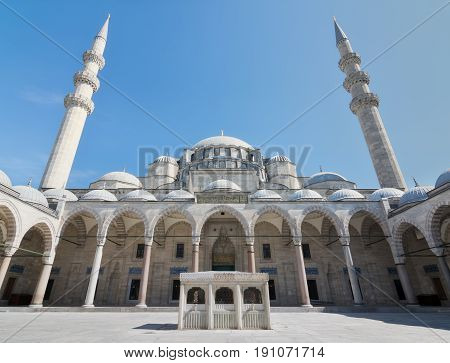 Istanbul, Turkey - April 19, 2017: Suleymaniye Mosque, an Ottoman imperial mosque located on the Third Hill of Istanbul Turkey and the second largest mosque in the city. built in 1557