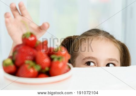 Young cute smiling european little girl is trying to steal ripe jucy strawberry from plate of many berries while she sitting under white table in light room at summer time.