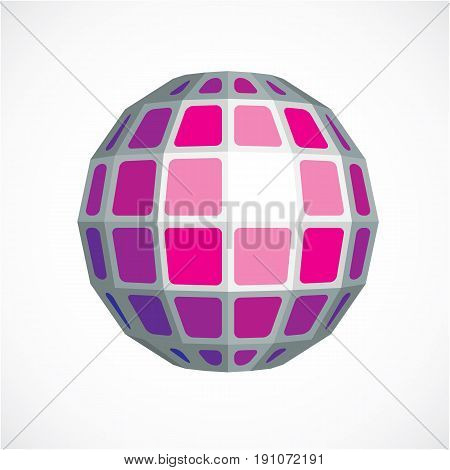 3D Vector Low Poly Purple Spherical Object, Perspective Orb Created With Square Facets. Abstract Pol