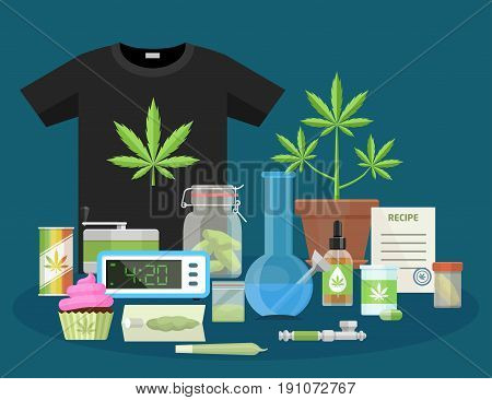 Marijuana and smoking equipment flat icons, Illustration of medical cannabis ganja growing and accessories cartoon vector illustration.