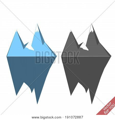 Ice berg icon vector illustration set. Blue and grey