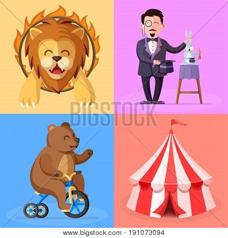 Cute cartoon style set with circus performance actors characters. Trained lion, magician, bear on bicycle and circus tent flat vector illustrations