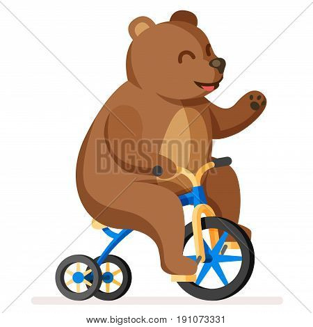Colorful happy and cute bear on bicycle. Trained funny circus bear artist riding bike character. Magic circus show flat cartoon illustration.