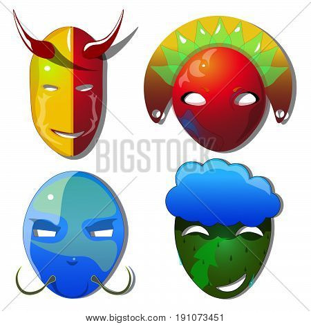 Four masks with different designs and different colors. Masks are used for a holiday or masquerade at a ball.