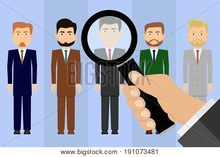 Selection of candidates for work. Job seekers. A hand with a magnifying glass looks at the candidates. Flat design vector illustration vector.