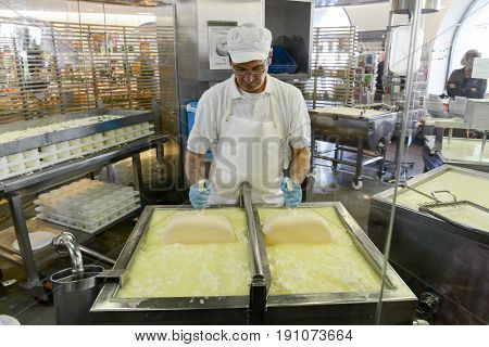 Cheesemaker Preparing The Cheese In A Show Dairy At Engelberg