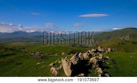 Prehistoric Zorats Karer site near Karahunj village in Armenia