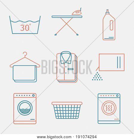 Laundry Service. Laundry. Washing. Vector thin line icon set