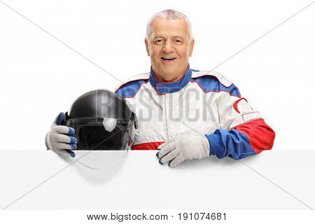 Elderly car racer behind a panel isolated on white background
