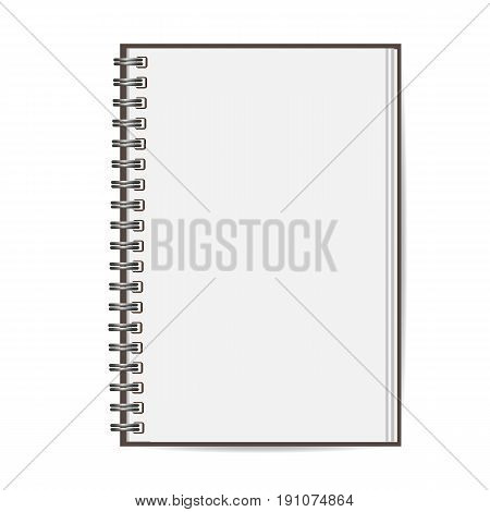 Blank realistic closed spiral notebook isolated on white background. Vertical copybook. Template mock up of organizer or diary. Vector