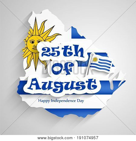 illustration of 25th of August text with Uruguay flag on the occasion of Uruguay independence day