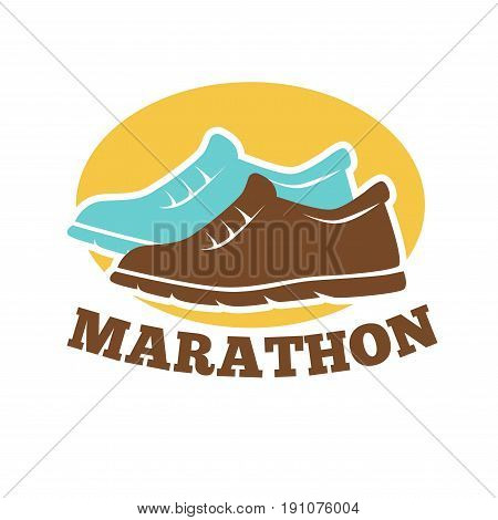 Marathon competition emblem with brown and blue sneakers silhouettes on yellow circle and sign underneath isolated vector illustration on white background. Big runners tournament promotion poster.