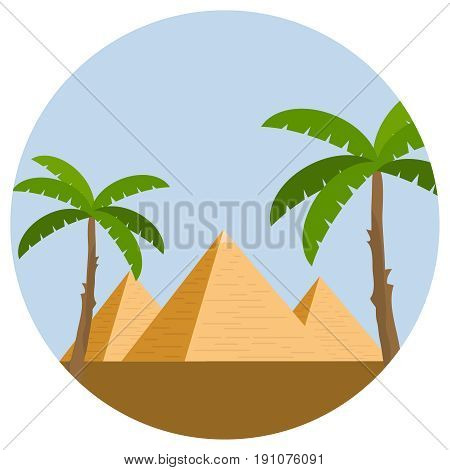 Egyptian pyramids with palm trees and desert against the blue sky. Flat design vector illustration vector.