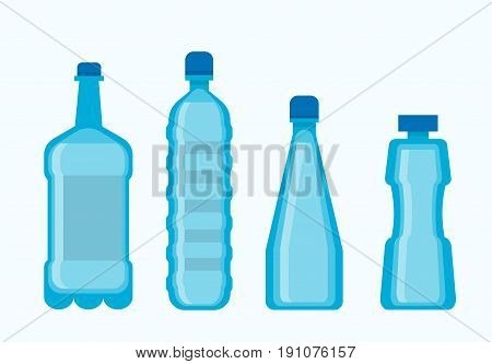 Plastic water bottles collection in blue color isolated on white. Vector poster in flat design of four tall containers for liquids in various shape and size. Dish types for carrying beverages