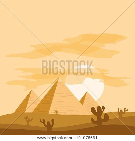 Egyptian pyramids against the background of sunset. Flat design vector illustration vector.
