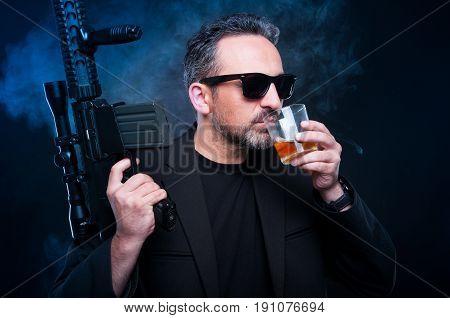 Mafia Boss With His Weapon Or Machine Gun