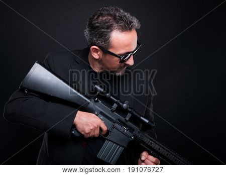 Armed Fireman Or Gangster With Machine Gun