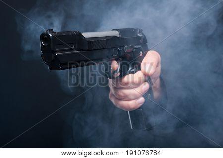 Closeup Of Gun In Boss Mafia Hand