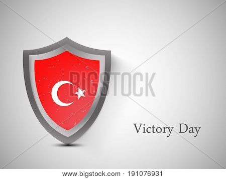 illustration of shield in turkey flag background with Victory Day text on the occasion of Turkey independence day