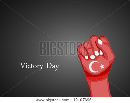 illustration of hand in turkey flag background with Victory Day text on the occasion of turkey independence day