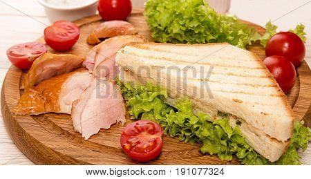 Sandwich With Smoked Grill Chicken Garnish With Cherry Tomato, Lettuce