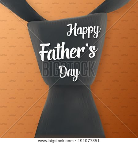 Illustration of Fathers Day Greeting Card. Realistic Tie with Happy Father Day Lettering Background