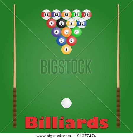 Billiards billiard balls cue. Flat design vector illustration vector.