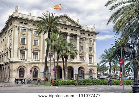 BARCELONA SPAIN - APRIL 19: Building Gobierno militar in La Rambla on April 19 2017 in Barcelona