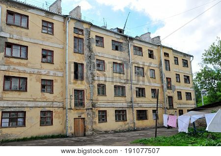 Kazan, Tatarstan, Russia - May 30, 2017. Old emergency house with wooden ceilings, built in 1937. Nazarbayev street, Chaliapin street. Slums of the city of Kazan.