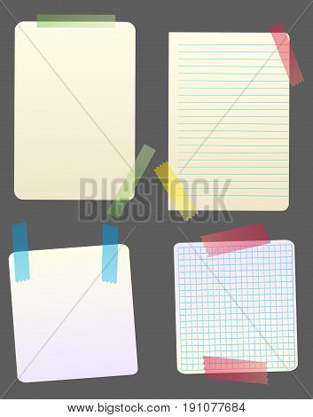 Vector paper notes attached with colored sticky tape. Isolated objects. Copyspace