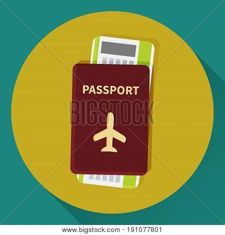 Passport and boarding pass ticket icon. Flat design. Vector illustration