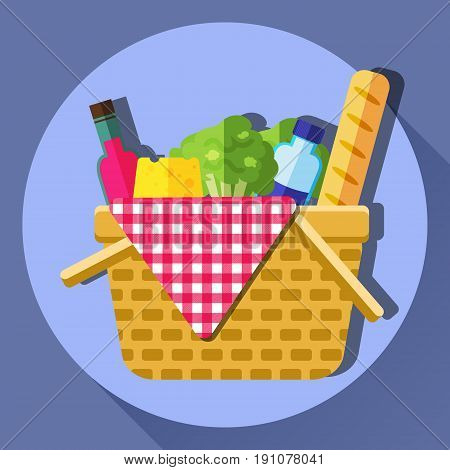 Picnic basket vector flat style illustration. Opened food hamper bag filled with bread, lettuce, wine, cheese, water and tartan pattern table cloth. Basket lunch concept