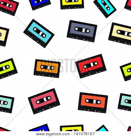 Seamless vintage background with compact audio cassette tape. Vector illustration.