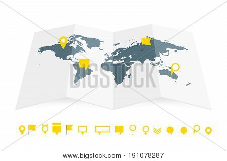 World Map Paper Guide With Pins Set Vector Illustration