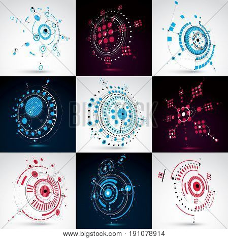 Set Of 3D Vector Abstract Backgrounds Created In Bauhaus Retro Style. Geometric Composition Can Be U