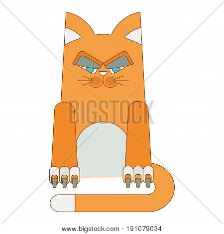 Redhead, malicious and dissatisfied fat cat. Flat vector cartoon illustration. Objects isolated on a white background.