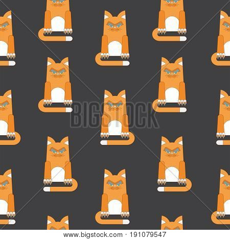 Seamless pattern with redhead, malicious and dissatisfied fat cat. Flat vector cartoon illustration. Objects isolated on a white background.