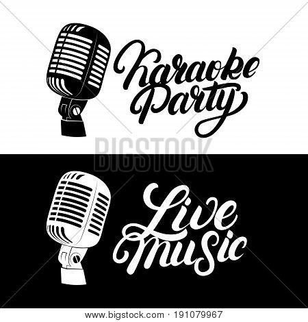 Karaoke hand written lettering logo, emblem with retro vintage microphone. Live music label. Isolated on background. Vector illustration.