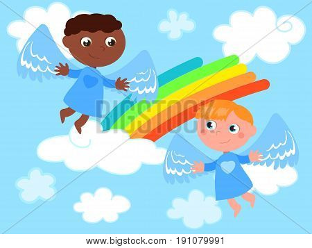 Cartoon cute flying angels in the sky with rainbow. Diverse and friends. Vector illustration.