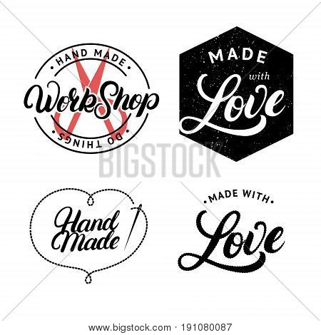 Set of hand made hand written lettering logo, label, badge, emblem. Made with love. Sign for knitwear company, sewing workshop, handmade artist. Isolated on background. Vector illustration.