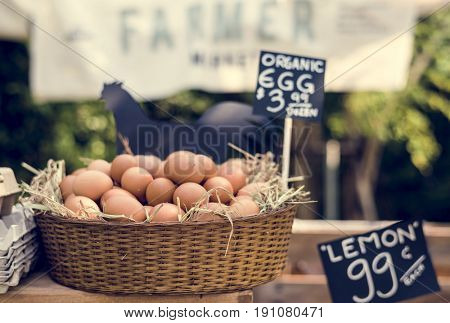 Organic fresh agricultural product at farmer market
