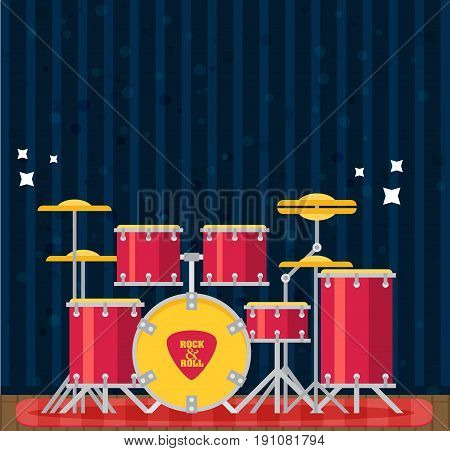 Color Flat Style Vector Drum Set. Bass Tom-tom Ride Cymbal Crash Hi-hat Snare Stands