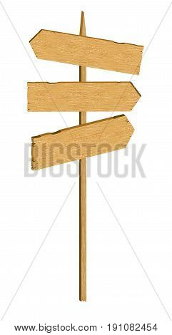 Vector wooden arrow sign. Three light wood signboards poiting to different directions. Isolated object on white background.