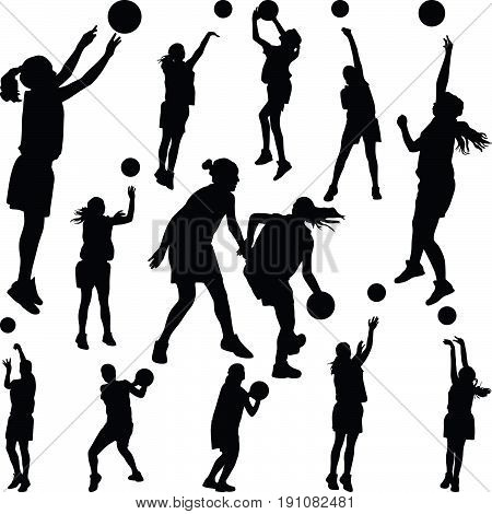 group of basketball woman player silhouette vector