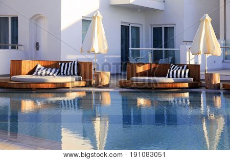Resort Swimming Pool with reflection. Cyprus Protaras