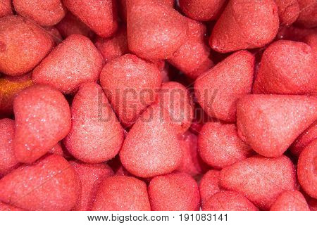 A lot of Gummy Strawberries in market