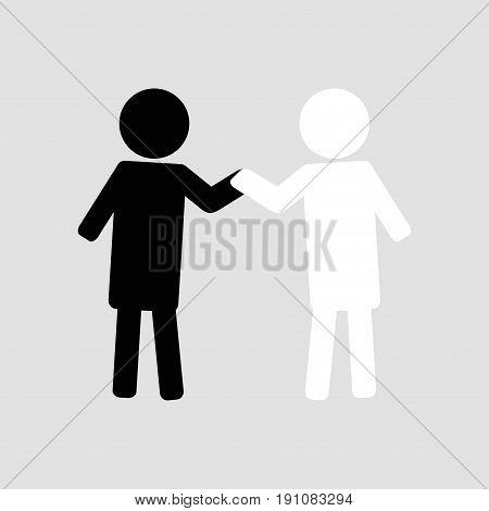 friendship hug each other icon illustration vector