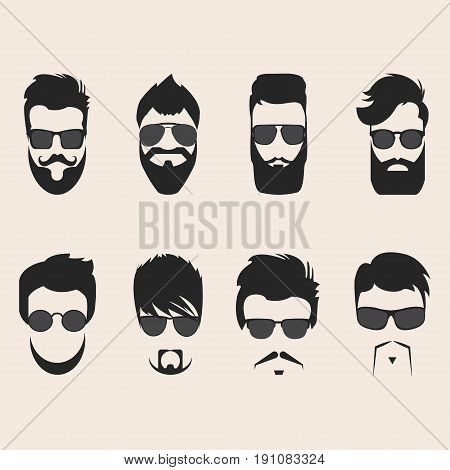 Set of vector mustache, beards and hair hipster goggles. Retro curly collection. Barber silhouette