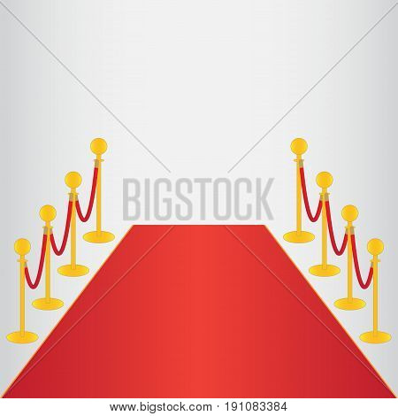 Red carpet, ceremonial vip event, head of state visit with gold barriers. Vector illustration